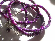RARE purple NATURAL SUGILITE Semi-GEL STERLING SILVER bead NECKLACE gems New Buy