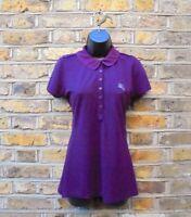 Burberry Brit Women Purple Short Sleeve Button Down Polo Neck T-Shirt Size Small
