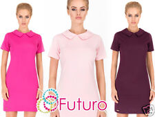 Ladies Shift Dress With Collar Short Sleeve 20's Style Tunic Sizes 8-14 FA385