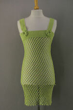 robe longue bretelles en crochet vert anis t 36/38 vintage