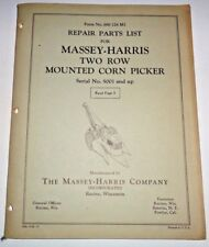 Massey Harris Two-Row Mounted Corn Picker Parts Catalog Manual Book Original! Mh