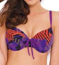Panache Suzette Balconette Bikini Top 0682 Purple Black Floral V Sizes NEW