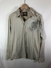 Roar Buckle Men's Taupe & Black Stripe Button Front Standard Shirt Size L NWT