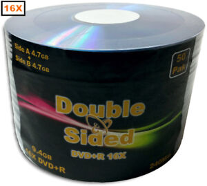 50-Pak 9.4GB Double-Sided 16X DVD+R's (record both sides of disc)