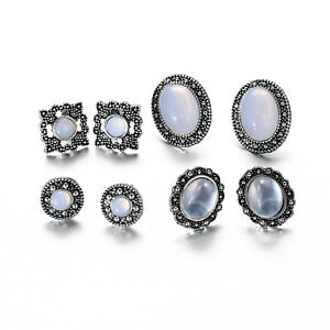 4 Pair/lot Antique Style Women Silver Plated White Cobblestone Stud Earrings Set