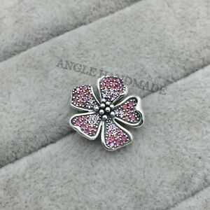 Big Peach Blossom Flower Charm, 100% S925 Sterling Silver with Enamel Pink CZ 🕊
