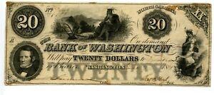 1861  $20  Bank of Washington, North Carolina .A surviving antebellum structure