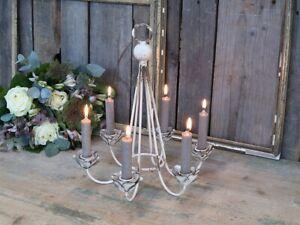Chik Antique  Kerzen Leuchter Halter Kronleuchter für 6 Kerzen offwhite 71417-19