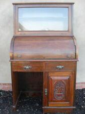 Victorian carved Walnut & Mahogany cylinder roll top desk (ref 1052)