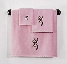 BROWNING BUCKMARK PINK BATH ACCESSORIES -3 PC TOWEL SET, BATH & HAND & WASHCLOTH