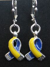 Down Syndrome Awareness Earrings Ribbon Yellow Blue Charm October IN GIFT BOX