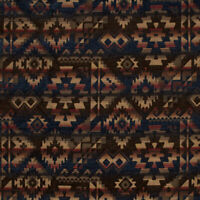 Midnight Navy Geometric Chenille Apache Upholstery Fabric by the yard