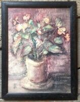 :: Monogramma ° Acquerello Fiori Espressionista Um 1930 Natura Morta Cornice