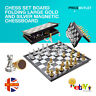 Chess Board set Folding Large GOLD and SILVER Magnetic Chessboard Gift Toy UK