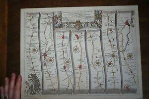 1675 ROAD FROM LONDON TO BANBURY COLOUR STRIP MAP by JOHN OGILBY UXBRIDGE BUCKS