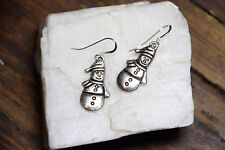 925 sterling silver earrings charm Christmas Snowman pewter 1 pair Drop