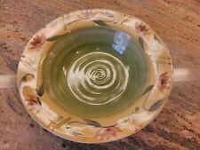 """Pier 1 ELIZABETH 12"""" Rimmed Serving Pasta  Salad Bowl Green Gold Stoneware"""
