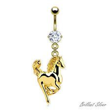 Bauchnabelpiercing Gold Nabel Piercing Stecker Anhänger Pferd Kristall Weiß