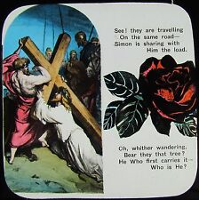 Glass Magic Lantern Slide CHRISTIAN RELIGIOUS TEXT NO12 C1900 WITH FLOWERS