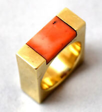 Vintage 14K Solid Yellow Gold and Salmon Red Natural Undyed Coral Ring Size 5.5
