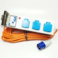 Camping Tent Mobile Mains Electric Power Supply Hook Up Unit with RCD  15m Lead