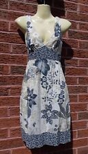 Ladies Navy, Beige & Ivory Floral Sundress by New Look, Size 8, VGC