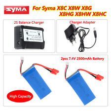 2x 7.4V 2500mAh 25C Lipo Battery+2in1 Charger Kit for Syma X8W X8C X8G Quad BYT1