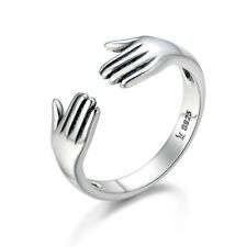 NEW Open Ring .925 Sterling Silver Give me a Hug Heart Open Ring for Women/Men