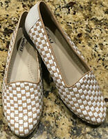 Trotters Liz Women's Size 6 M Tan White Woven Leather Slip On Loafers Flats NWOB