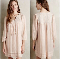 Anthropologie One September Womens Anwen Peasant Shift Dress Size XS Embroidered