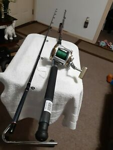"Trolling fishing Rod Daiwa 9'6""30lb Med/Heavy And Trolling Reel Okuma Avenger..."