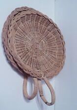 Vintage Wicker Rattan Paper Plate Holder with Handles - Lot of 2