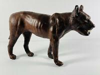 "Antique Leather 12"" Dog Folk Art Sculpture w/ Teeth wolf terror! scary!"
