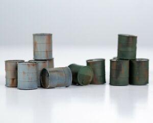 N Gauge Dented Oil Drums (x10) (unpainted)
