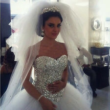 New white/ivory Ball Gown Beading Tulle Wedding Dresses Bridal Gown Custom Size+