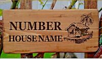 Personalised Beach Hut Sign Palm Tree Bar House Door Coconut Name Plaque Garden