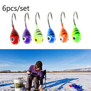 6Pcs Ice Fishing Jigs Tungsten Jig Mini Winter Jigging Fishing Lures Baits New