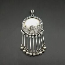 Chinese Handmade Miao silver bell tassels DIY embedded peacock necklace pendant