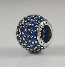 New S925 Authentic Pandora Charm Blue Pave Ball Charm Bead 791051NCB