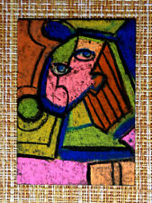 ACEO original pastel painting outsider folk art brut #010445 abstract surreal