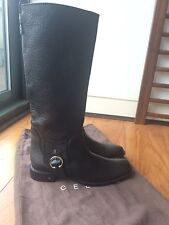 NIB Celine Black Leather Riding Boots 25 Flat SZ 40/UK 7
