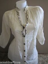 Daytrip The Buckle Cream Off White Button Down 3/4 Sleeve Light Weight Cardigan