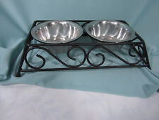 Metal Framed Double Cat Dog Bowls Pet Feeding Station Stainless bowls Sturdy