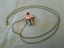 Accessorize Pink Flapper Length Cupcake Necklace Enamel
