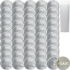 Tube of 50 New 1/10 oz Silver Rounds MPM Train Design .999 Fine Bullion