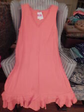 NWT FRESH PRODUCE SUNRISE STYLE V-NECK DRESS W / RUFFLE IN RED CORAL ..(XL).