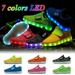 HOT Kids Boys Girls Light Up Shoes LED Flashing Trainers Casual Sneakers