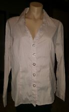 WOMENS Sz 16 pink white RIVERS striped adjustable sleeve shirt LOVELY! TRIM FIT!