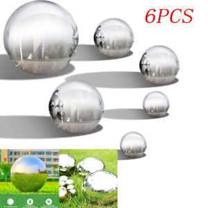 6PCS Stainless Steel Gazing Balls Silver Mirror Spheres Garden Outdoor Decor UK