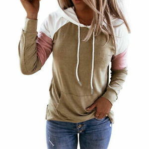 Womens Long Sleeve Blouse Casual Hooded Pockets Hoodie Sweatshirt Pullover Tops